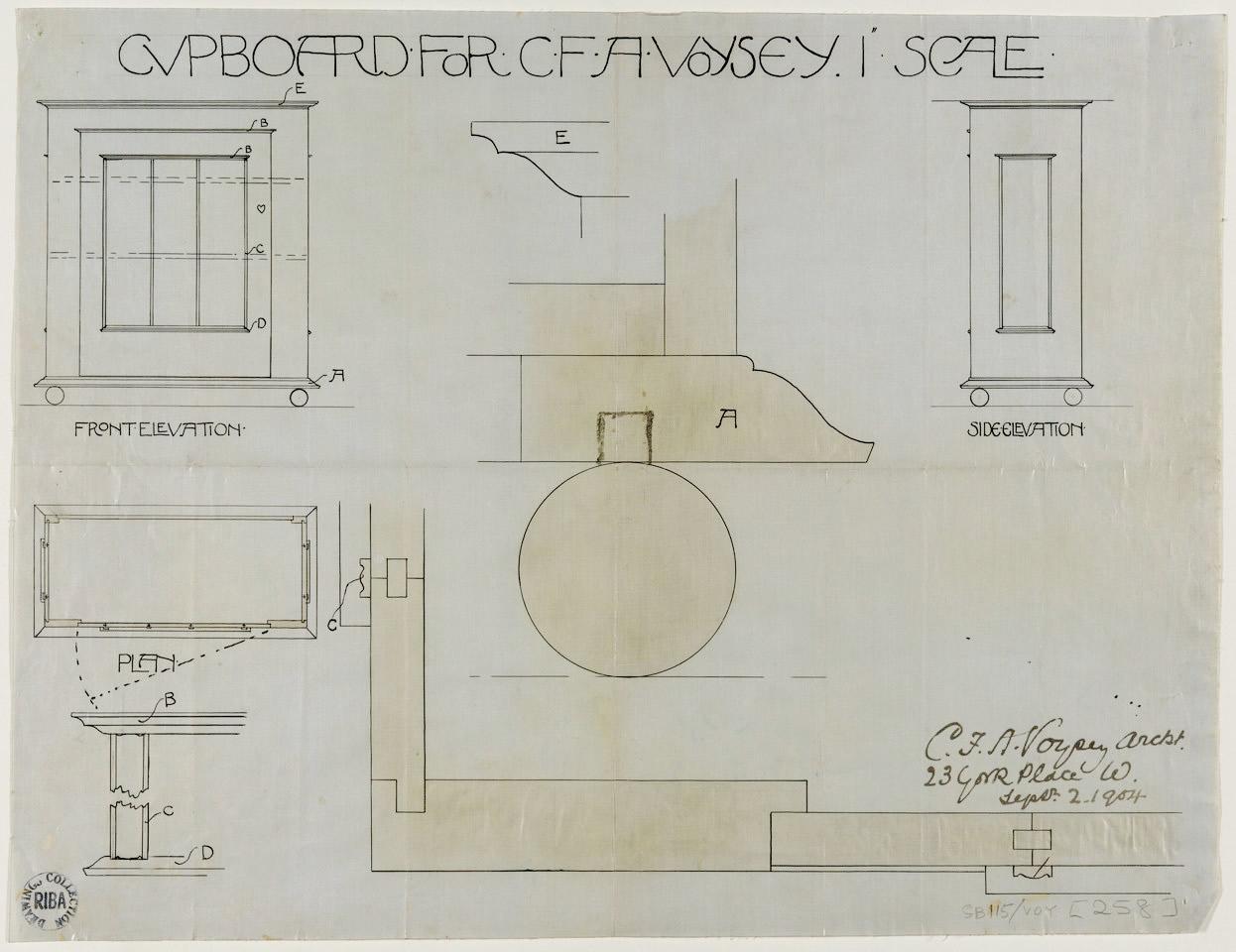 Voysey Cupboard Drawing