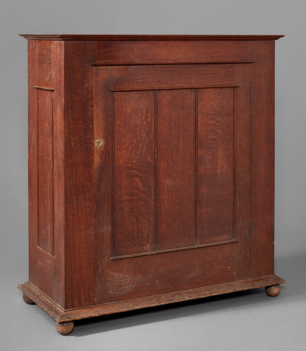Voysey Cupboard, Oak, with brass escutcheon