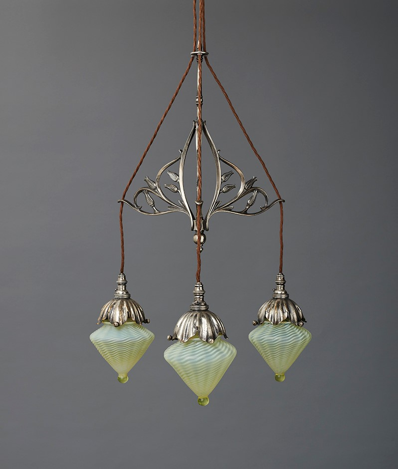 2. THREE-LIGHT 'PENDANT' The shades by Powell of Whitefriars (various partnerships, 1834-1980)